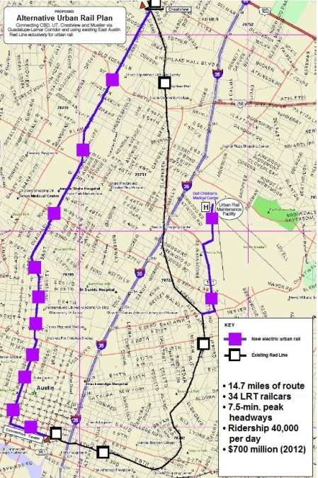 "TAPT ""loop"" plan from the early summer of 2012 proposed a 14.7-mile route ""looping"" around the heart of the central city, including a line in the G-L corridor, plus a branch to Mueller. Map: TAPT. (Click to enlarge.)"