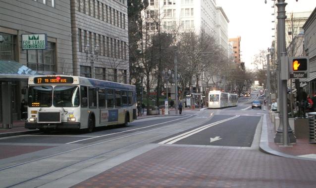 Portland 5th Ave. transit mall. Photo: Dave Dobbs.
