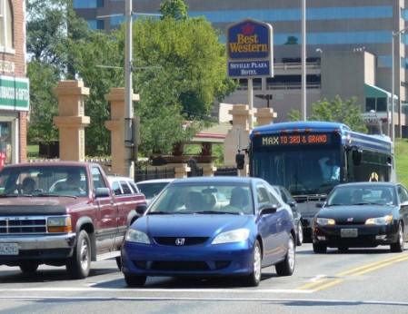 "Kansas City MAX premium bus service (branded as ""BRT""). Photo: Metro Jacksonville."