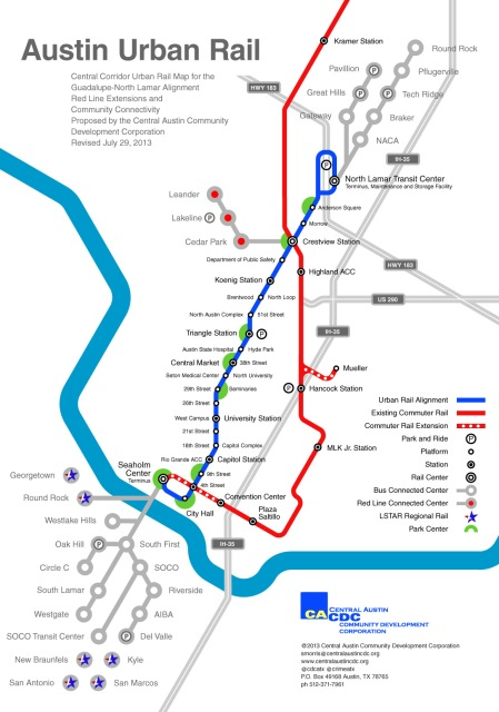 CACDC's Central Corridor urban rail plan (blue), with MetroRail (red) and various bus links (grey). Map: CACDC