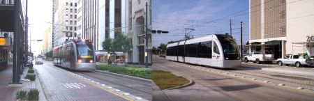 Main St., 2 views of MetroRail alignment. LEFT: Train near Preston (photo: L. Henry). RIGHT: Train near Gray (photo: Frank Hicks).