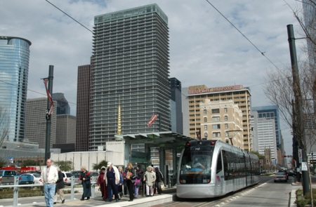 As in this example from Houston's light rail system, urban rail would be powered by electricity and operate mainly in the street — in Austin's case, Guadalupe and Lamar. Photo: Peter Ehrlich.