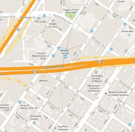 Map showing MetroRail transition from Main St to Fannin-San-Jacinto (Screen capture by L. Henry from Google Maps).