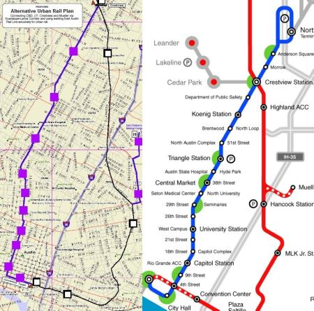 TAPT plan (left) and CACDC plan (right) both propose Guadalupe-Lamar as the major focus of Austin's Phase 1 urban rail starter line.