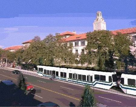 Rendition of LRT train on Guadalupe (the Drag) passing UT campus. Graphic: Capital Metro, via Light Rail Now.