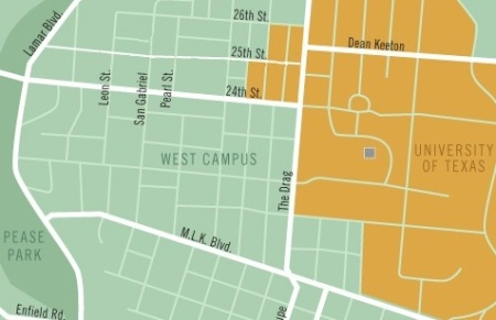 West Campus neighborhood is area in light green just to west (left) of the Drag (Guadalupe, vertical white line just to right of center). UT campus shown in orange. Map: The Galileo, rev. by ARN.