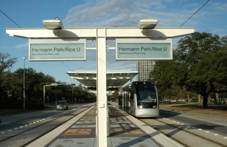 MetroRail Hermann Park-Rice University station on Fannin St. Photo: Peter Ehrlich.
