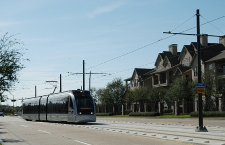 MetroRail train on S. Braeswood Blvd. Photo: Peter Ehrlich.