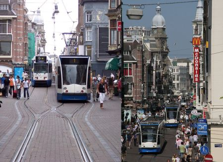 Two views of the Leidsestraat. LEFT: A #1 tram, heading away from camera, has just left the interlaced section onto double track, passing a #5 tram headed toward the camera and the interlaced section. (Photo: Stefan Baguette) RIGHT: You can see the stead stream of trams, sometimes just a couple of minutes apart, passing the heavy flows of pedestrians on each side. (Photo: Mauritsvink)