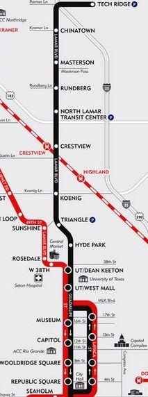 MetroRapid bus route (black line) planned for the G-L corridor. Red line denotes MetroRapid in the Burnet-South Lamar corridor. (Map: Capital Metro)