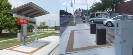 MetroRapid bus stations are minimalist, low-cost, modular (movable). LEFT:  Completed station at North Lamar Transit Center (Photo: Downtown Austin Alliance) • RIGHT: Bus stop on Guadalupe at 39th St. being upgraded for MetroRapid (Photo: Mike Dahmus)