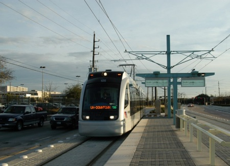 Houston's MetroRail demonstrates that LRT can attract and carry more passengers faster, more effectitly and safely, more cost-effectively than high-capacity bus operations. Photo: Peter Ehrlich.