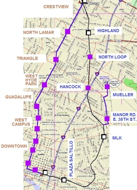 "TAPT proposes ""loop"" line, with routes on both Guadalupe-Lamar and eastide through converting the MetroRail line to electric light rail — plus a spur to Mueller."