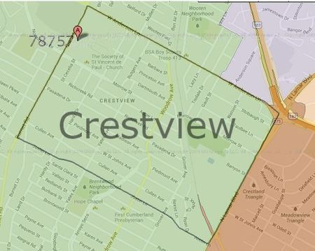 Crestview Neighborhood Association's eastern boundary lies along North Lamar Blvd. Map: CNA.