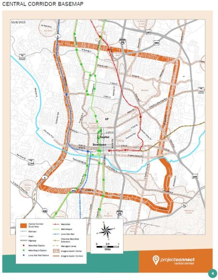 """Project Connect's central Austin study area (so-called """"Central Corridor"""")"""