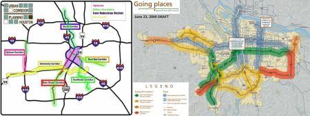 LEFT: Houston urban corridor planning map (City of Houston). RIGHT: Portland high-capacity transit (HCT) planning map (Transport Politic).