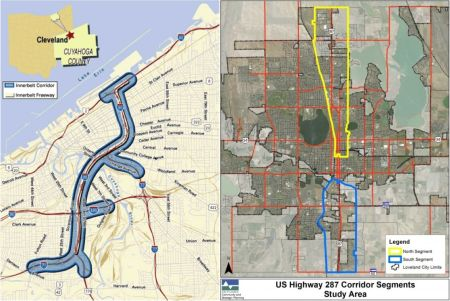 LEFT: Travel corridor in Cleveland (FHWA). RIGHT: Travel corridor in Loveland, Colorado (City of Loveland).