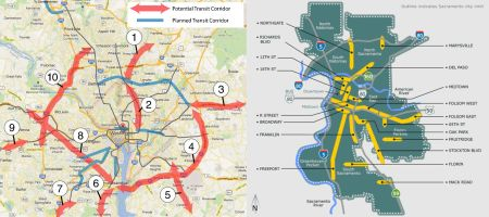 LEFT: Washington — potential transit study corridors (WMATA). RIGHT: Sacramento — Designated commercial corridors (City of Sacramento).
