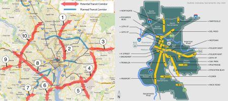 LEFT: Washington — potential transit study corridors (WMATA). RIGHT: Sacramento — Designated commercial corridors (City of Sacramento).