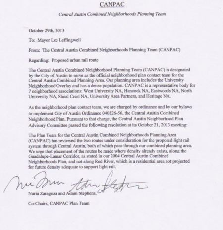 Image of memo conveying G-L endorsement from CANPAC to Austin Mayor Leffingwell.