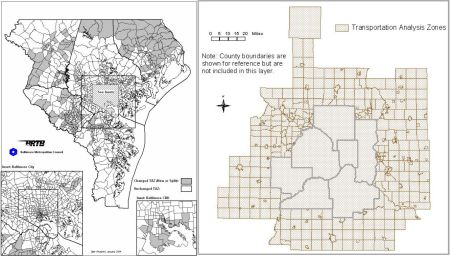 LEFT: Baltimore TAZ map (Baltimore Metropolitan Council). RIGHT: Minneapolis TAZ map (Metropolitan Council).