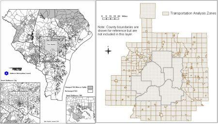 LEFT: Baltimore TAZ map (Baltimore Metropolitan Council). RIGHT: Minneapolis TAZ map (Metropolitan Council).