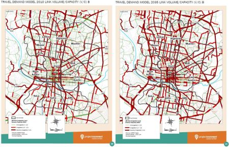 LEFT: Congestion by sector in 2015. RIGHT: Congestion by sector in 2035.