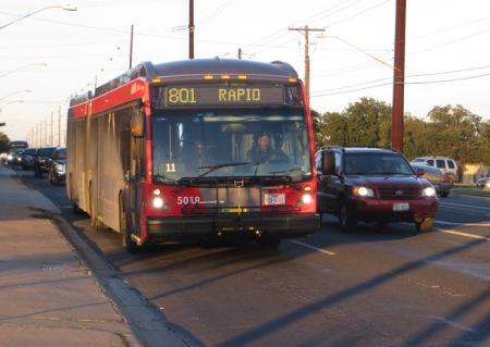 Capital Metro MetroRapid bus in test operation on North Lamar, Dec. 2010. Photo: L. Henry.