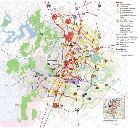 COA's Imagine Austin Growth Concept Centers and Corridors Map, with legend.