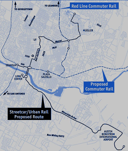 "Original urban rail ""circulator"" system in 2008 map of ROMA consulting team plan, contracted by City of Austin."