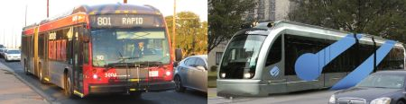 MetroRapid bus (left) and simulation of urban rail (right). Actual FTA view expresses openness to consider replacing MetroRapid service with urban rail in North Lamar corridor. Photo: L. Henry; simulation: COA.