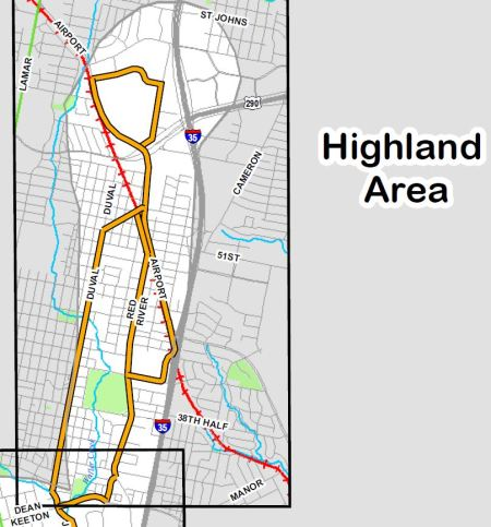 "Project Connect's proposed ""high-capacity transit"" alternative alignments for ""Highland"" sector."