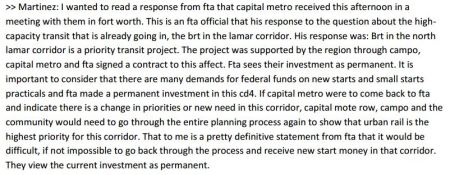 City of Austin transcript excerpt with Councilmember Mike Martinez's Dec. 12th remarks on FTA, MetroRapid, and urban rail for North Lamar. Screenshot: L. Henry.
