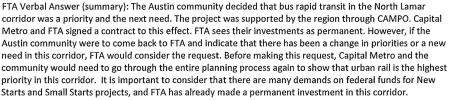FTA's actual statement, summarized in CMTA memo provided to Councilmember Martinez. Screenshot from PDF by L. Henry.