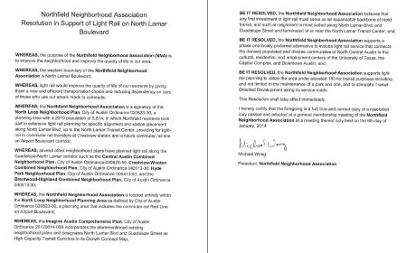 Screenshot of Northfield NA resolution supporting light rail transit on Guadalupe-Lamar corridor. (Click to enlarge.)