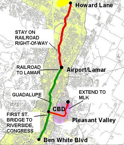 Urban rail (light rail transit) route proposed in 2000 was much straighter, simpler, cost-effective, and affordable, will no major civil works. Project was approved by majority of City of Austin voters, but failed in Capital Metro service area as a whole. Map: Light Rail Now library.