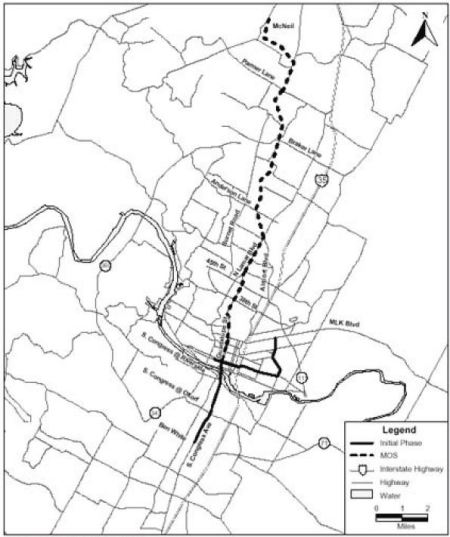 Capital Metro's 2000 MOS (dashed line) and full Phase 1 light rail plan. Map: FTA.
