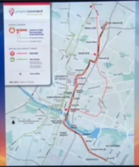 Map of Project Connect's urban rail proposal, as shown by KEYE-TV. Despite blurry image quality, the convoluted, meandering character of the route, well to the east of central Austin and its core axis, can be seen. Screenshot: L. Henry.