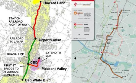 "LEFT: Capital Metro 2000 urban rail plan included initial minimum operable segment (MOS) running 14.6 miles down Capital Metro railway, Lamar, and Guadalupe to CBD, plus 5.4 miles of extension down South Congress to Ben White and branch into East Austin. Total 20.0 miles surface route (with adaptation of existing river bridge) would cost $1.2 million in current dollars ($60 million/mile). RIGHT: Project Connect plan proposes a 9.5-mile route from East Riverside, crossing river on new ""signature"" bridge, proceeding through east side of CBD, East Campus, along Dean Keaton and Red River to Hancock Center, then into open cut and tunnel, then along Airport Blvd. into Highland site.  Total cost: $1.1 billion ($119 million/mile) in current dollars."