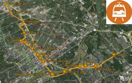 Project Connect's proposed line, criticized for avoiding Austin's central axis and most serious mobility needs, would run 9.5 miles from the Highland site (north) to a terminus on East Riverside (southeast). Map: Project Connect.