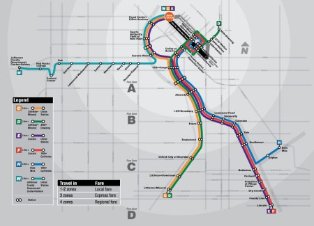 Because design and implementation dollars have been invested wisely, Denver's light rail system increasingly resembles a network that's expanding to serve more crucial corridors in the region. High ridership has also attracted transit oriented development (TOD) near stations, helping influence urban growth patterns. Map: RTD.
