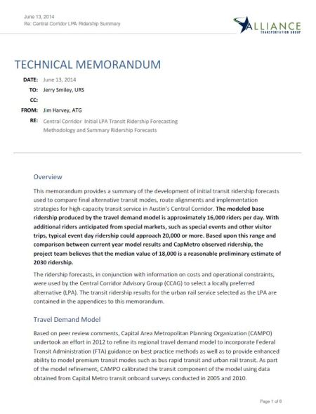 Screenshot of page 1 of Alliance Transportation Group's Technical Memorandum on Project Connect's ridership forecasting methodology.