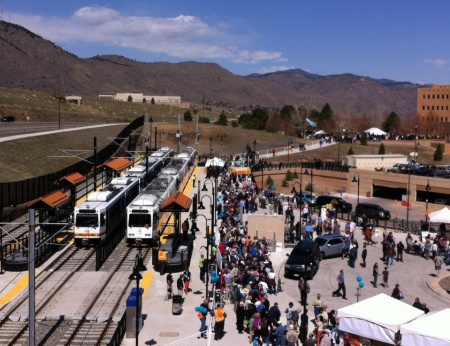 Opening day of Denver's West Line light rail extension to Golden, Colorado, April 2013. Photo: David Warner.