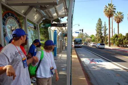 "Reinforced paveway on San Bernardino's sbX ""BRT"" Green Line shows that adequately ""dedicated"" bus lanes require more than just paint striping. Photo: TTC Inland Empire blog."