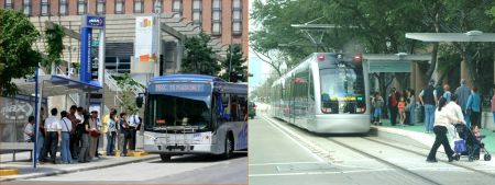 "Passenger stations of Kansas City's MAX ""BRT"" (left) and Houston's MetroRail LRT (right) illustrate significant design differences between bus and LRT facilities. Thus major infrastructure, from running ways to stations, installed for ""BRT"" must be removed or reconstructed for LRT — a substantial expense and thus obstacle to rail. Photos: ARN library."