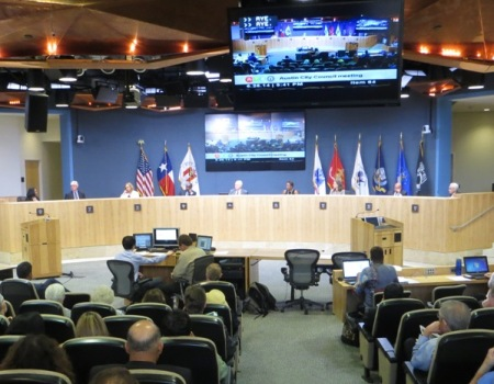 After squelching public input, Austin City Council votes unanimously on June 26th to endorse Project Connect's Highland-Riverside urban rail plan as Locally Preferred Alternative. Photo: L. Henry.