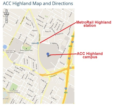 "ACC's map from its own website (annotated by Austin Rail Now) shows ACC campus (marked with inverted blue ""teardrop"" with MetroRail's Highland station at its northwest corner."