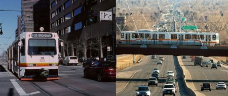 LEFT: Denver's starter LRT line, a 5.3-mile line opened in 1994, was routed and designed as a simple, surface-routed project to minimize construction time and cost. All-surface alignment avoided heavy, expensive civil works and kept design as simple as possible. Photo: Peter Ehrlich. RIGHT: Subsequent extensions, such as this West line opened in 2013, have required bridges, grade separations, and other major civil works, resulting in a unit cost 61% higher than that of the starter line. Photo: WUNC.org.