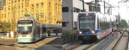 LEFT: Phoenix's Metro LRT — similar to Project Connect's proposed Highland-Riverside line — runs almost entirely in street and arterial alignments, with maximum speed limits, traffic signal interruptions, and sharp turning movements that slow running speed. Average schedule speed: 18.0 mph. (Photo: OldTrails.com)  RIGHT: Charlotte's Lynx LRT runs entirely in an exclusive alignment following a former railway right-of-way. Average schedule speed: 23.0 mph. (Photo: RailFanGuides.us)