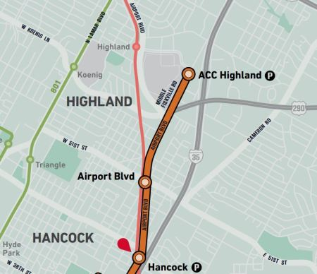 Closeup of Highland ACC segment of Project Connect's proposed urban rail map shows how the proposed urban rail line (orange) would effectively duplicate the existing MetroRail Red Line paralleling Airport Blvd. (MetroRail drawn as red line, with Highland station shown as red dot near top of map). Project Connect line would terminate at ACC administration building on far east side of campus, with no plans for extension, and no available corridor for extension. Map: Screenshot by ARN, from Project Connect map.